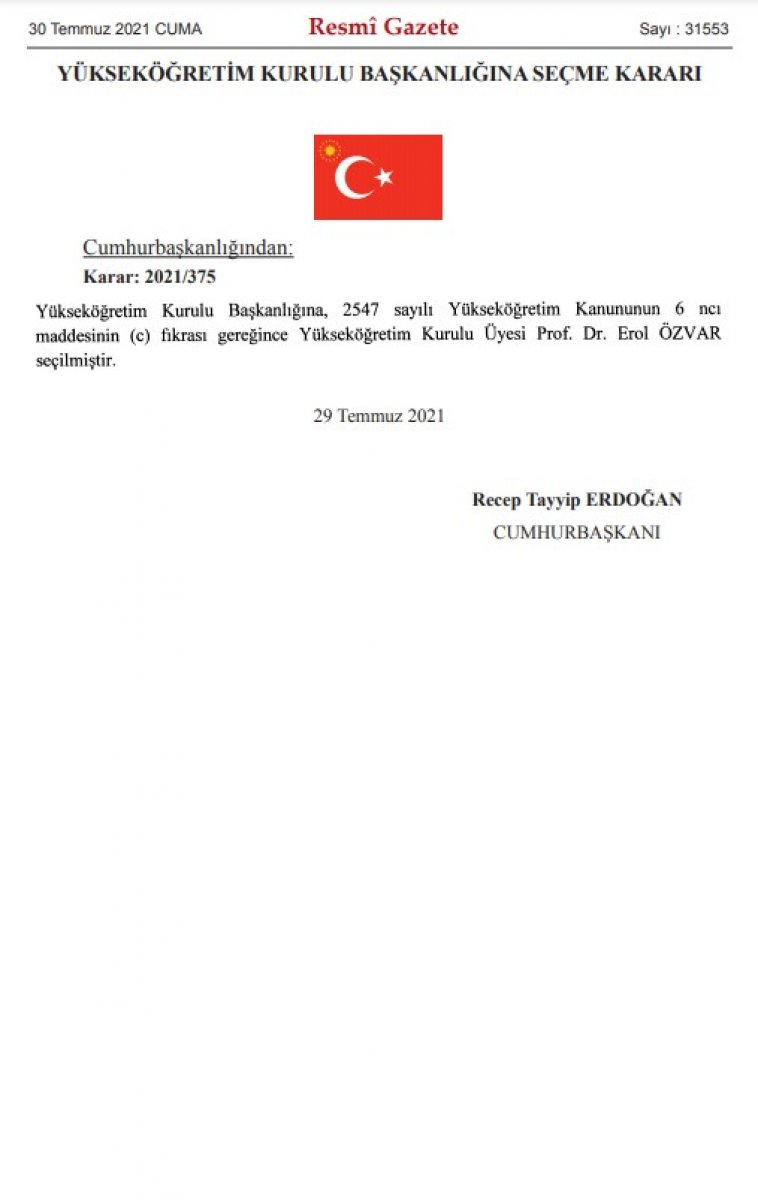 Erol Özvar, YÖK Başkanlığı na atandı #2