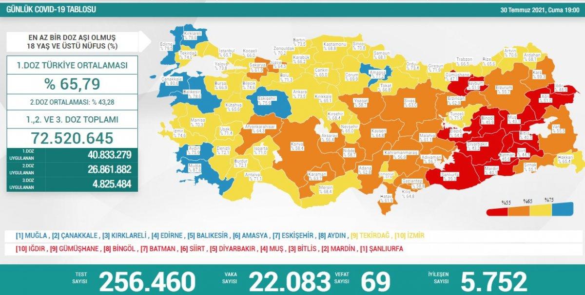 30 Temmuz Türkiye de koronavirüs tablosu #2