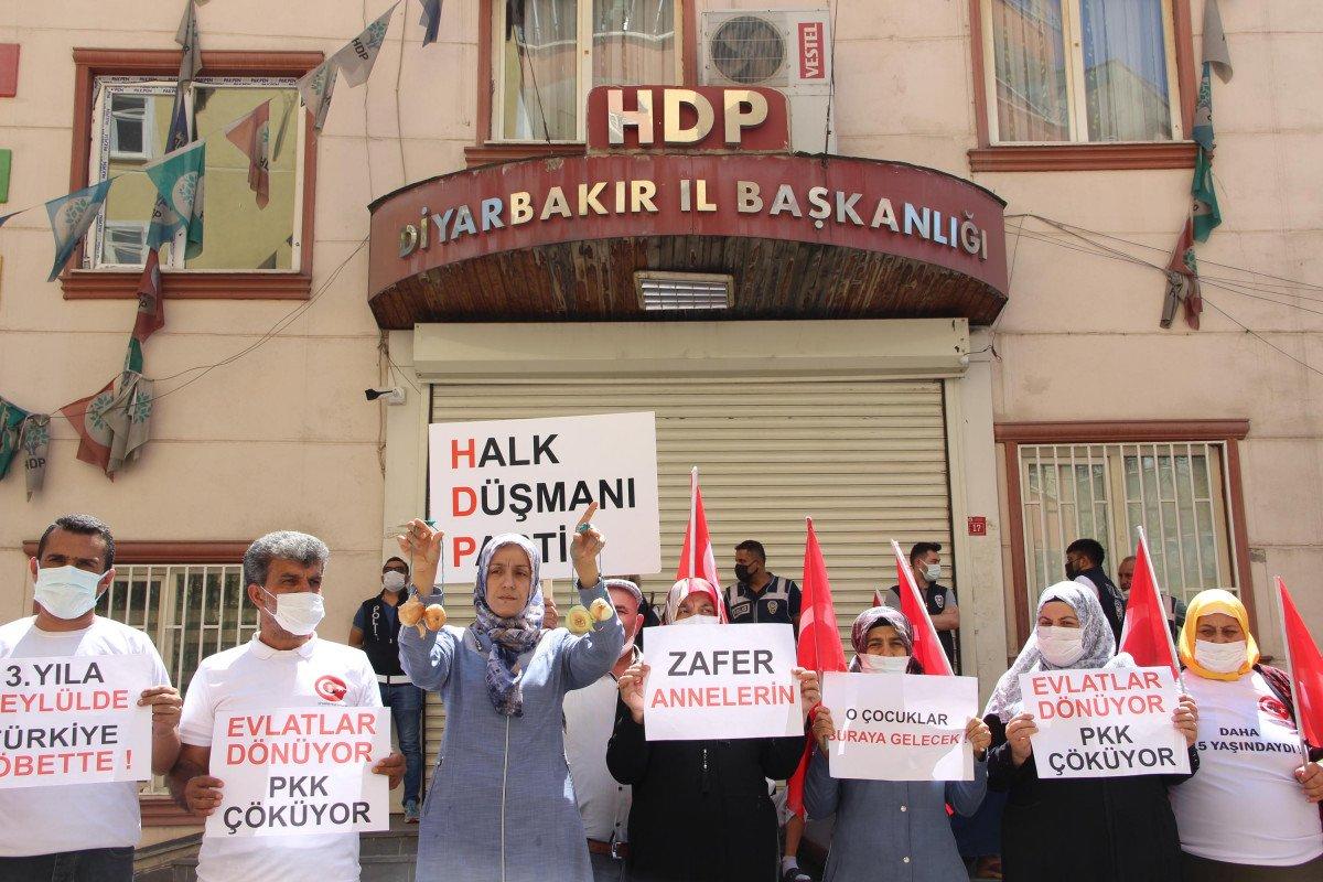 Evladına kavuşan Ayşegül Biçer, HDP binasına soğan astı #1
