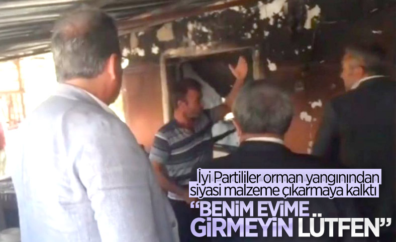 Osmaniye'deki vatandaş, yanan evine İyi Partili heyetin girmesini istemedi