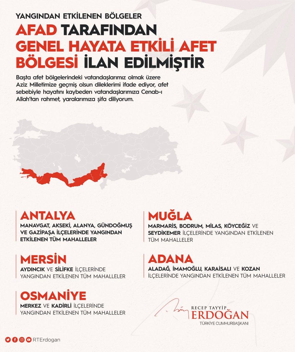 Cumhurbaşkanı Erdoğan: Yangından etkilenen yerler Afet Bölgesi ilan edildi #2