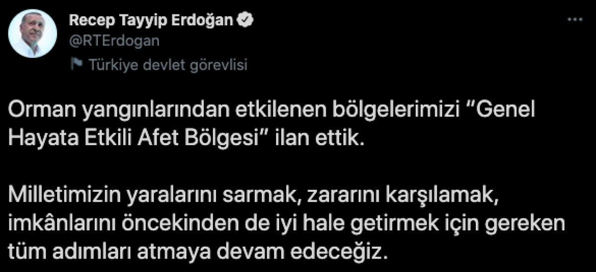 Cumhurbaşkanı Erdoğan: Yangından etkilenen yerler Afet Bölgesi ilan edildi #1