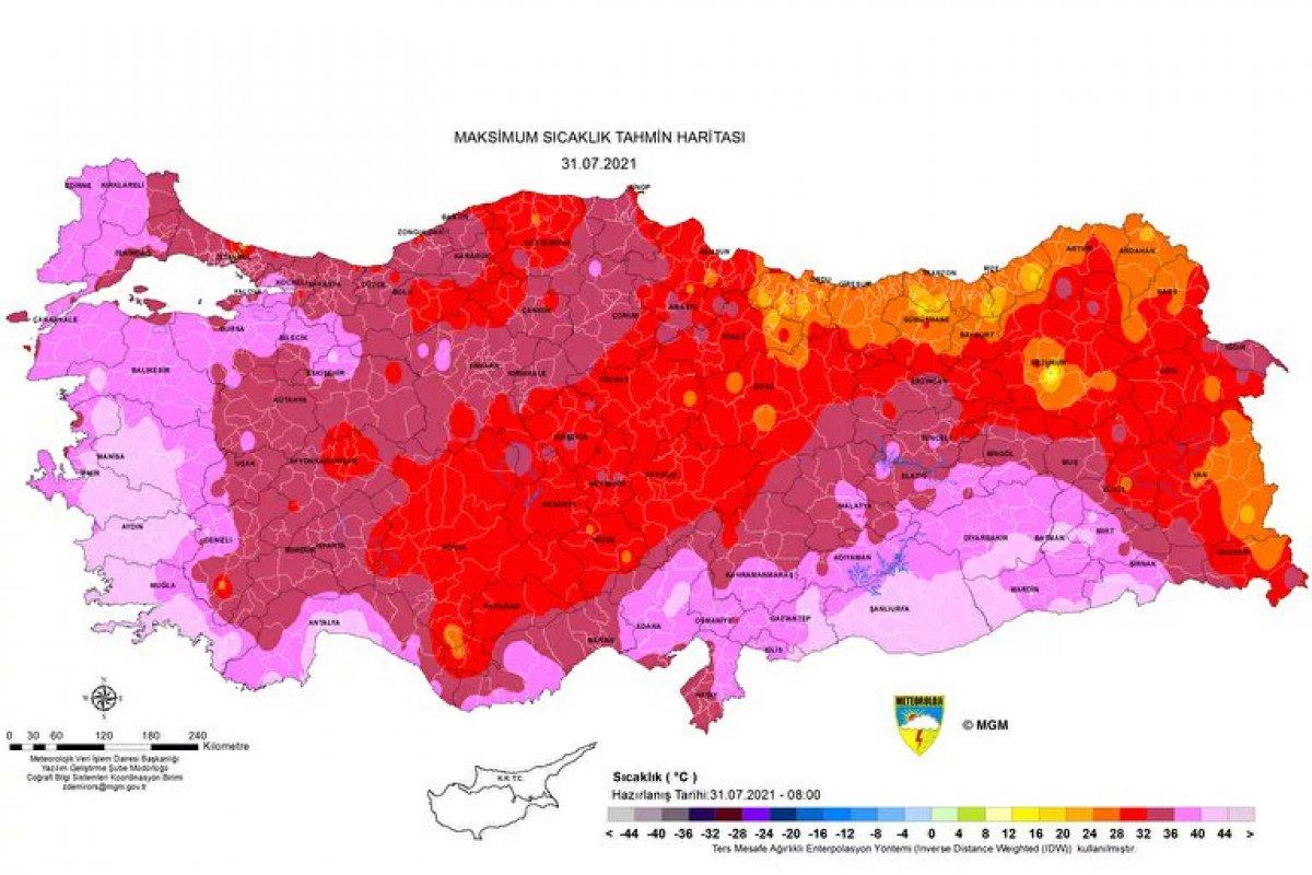 Meteoroloji, aşırı sıcaklara dikkat çeken bir harita yayınladı #1