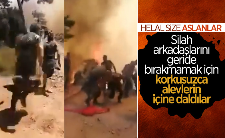 Askerler, Marmaris'teki orman yangınında alevlerin ortasında kaldı