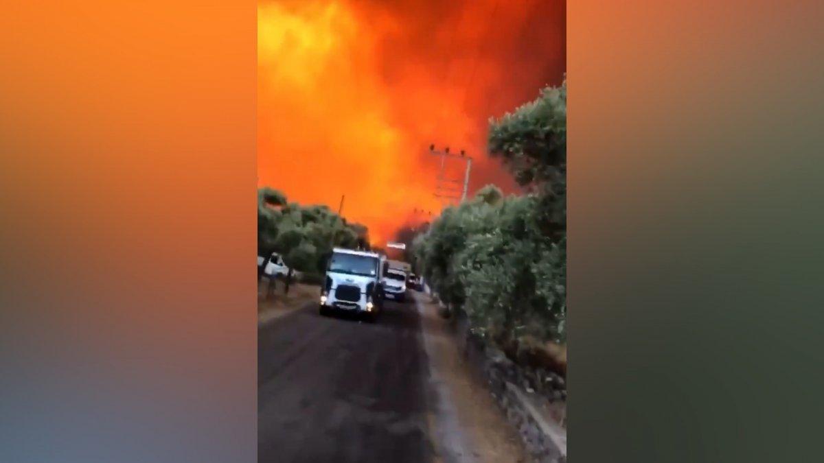 Bodrum Çökertme koyunda yangın şiddetini artırarak devam ediyor #1