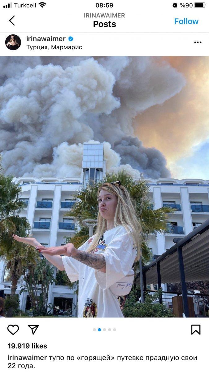 Rus şarkıcı, Antalya daki yangını alaya alan paylaşım yaptı #3