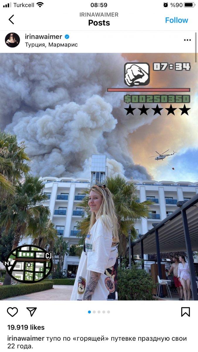 Rus şarkıcı, Antalya daki yangını alaya alan paylaşım yaptı #1