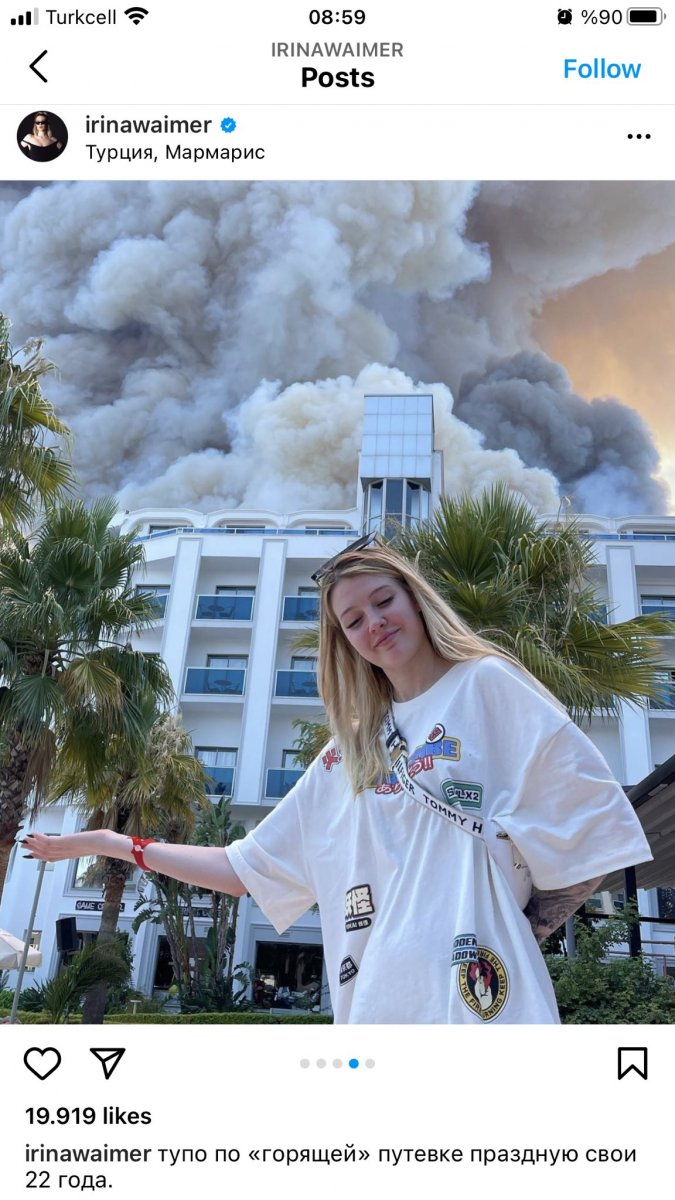 Rus şarkıcı, Antalya daki yangını alaya alan paylaşım yaptı #5