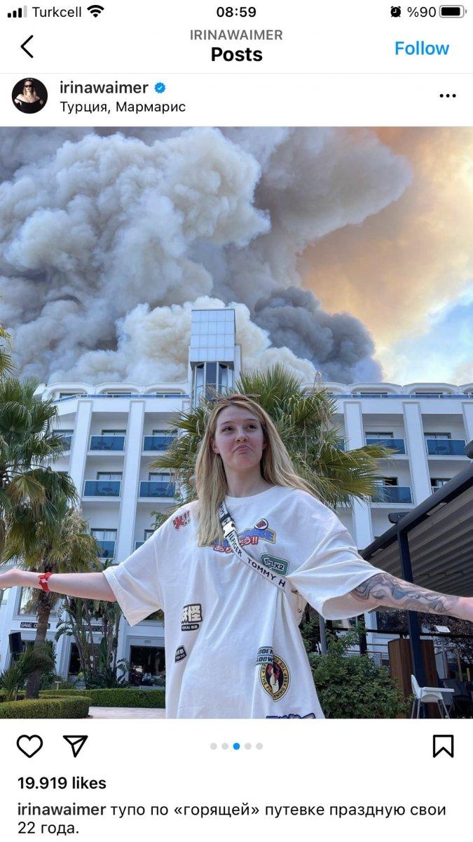 Rus şarkıcı, Antalya daki yangını alaya alan paylaşım yaptı #4
