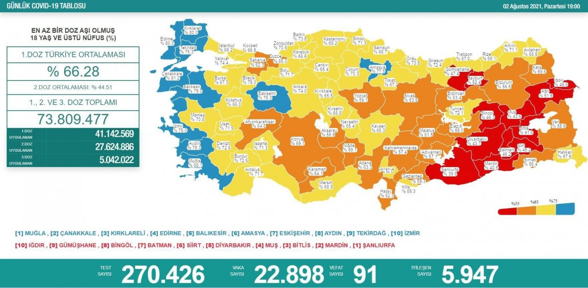 Bugün vaka sayısı kaç, kaç kişi öldü? 2 Ağustos koronavirüs tablosu #1