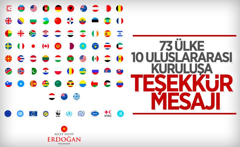 Cumhurbaşkanı Erdoğan: Taziyelerini ileten tüm ülkelere teşekkür ediyorum