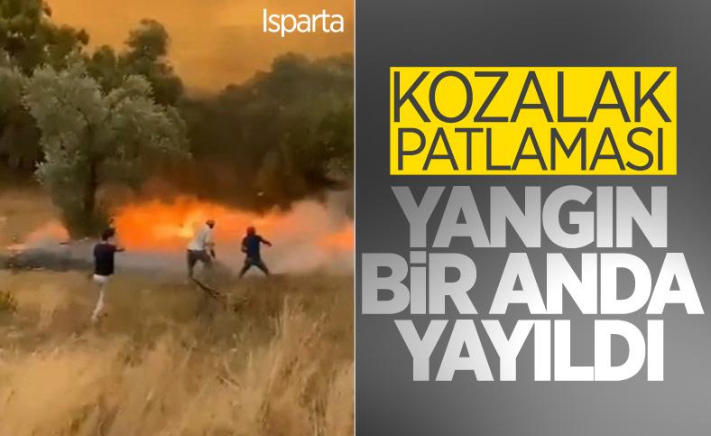 Isparta'da patlayan kozalaklar, saniyeler içinde orman yangınını büyüttü