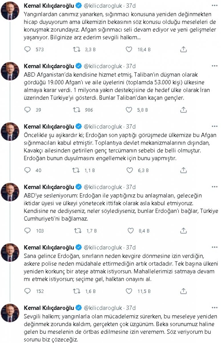 Kılıçdaroğlu ndan Afgan göçmen paylaşımı #2