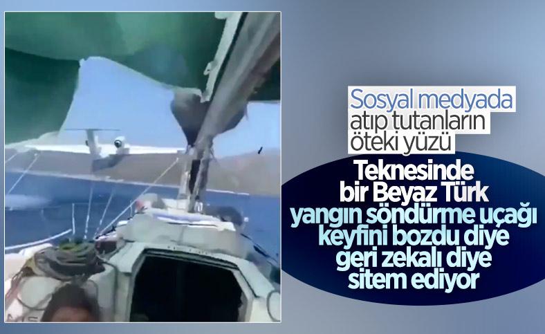 Marmaris'te su alan uçağa tepki gösteren tatilci