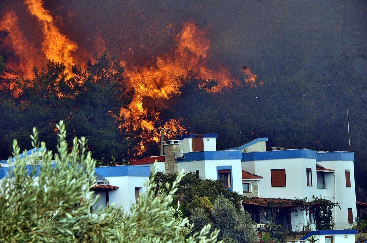 Muğla da yangın yazlık villalara sıçradı  #4