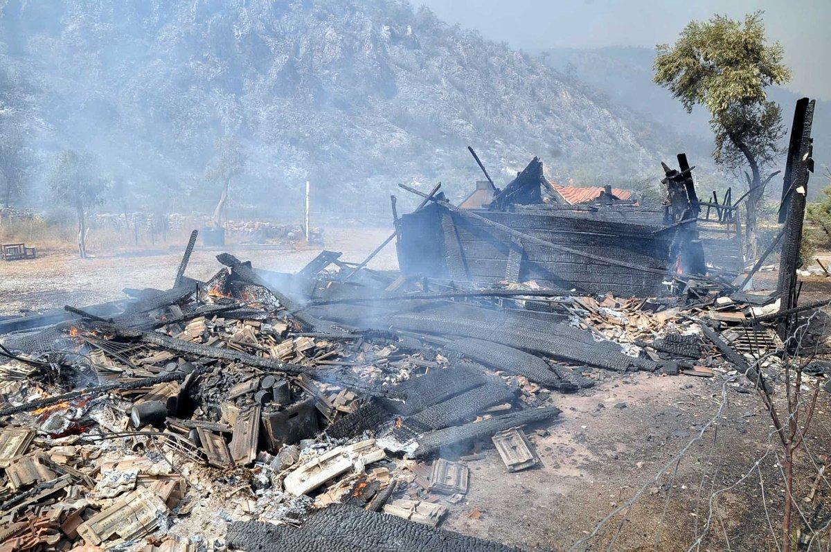 Muğla da yangın yazlık villalara sıçradı  #3