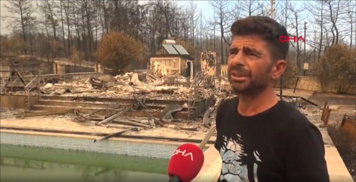 Antalya'da 6 kişilik aile, yangından kurtulmak için havuza sığındı #2