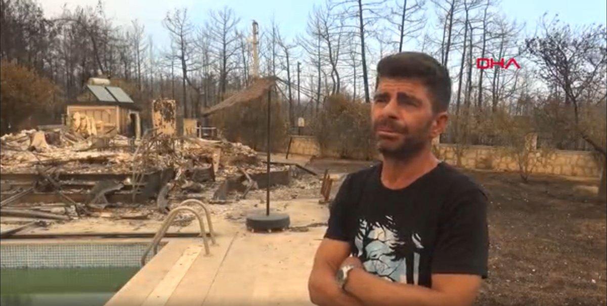Antalya'da 6 kişilik aile, yangından kurtulmak için havuza sığındı #1
