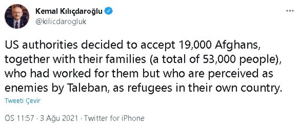 Kılıçdaroğlu ndan Afgan göçmen paylaşımı #3