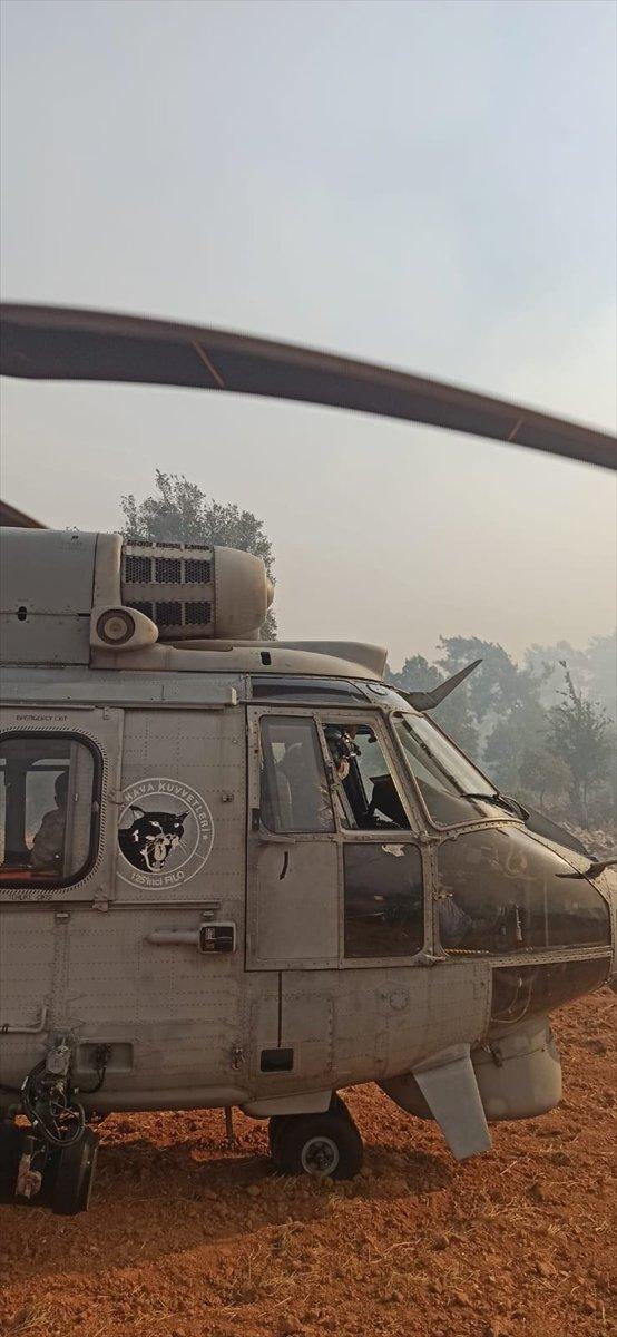 Milas taki yangında mahsur kalan kişi helikopterle kurtarıldı #3