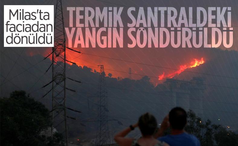 Milas'taki termik santrale sıçrayan yangın söndü