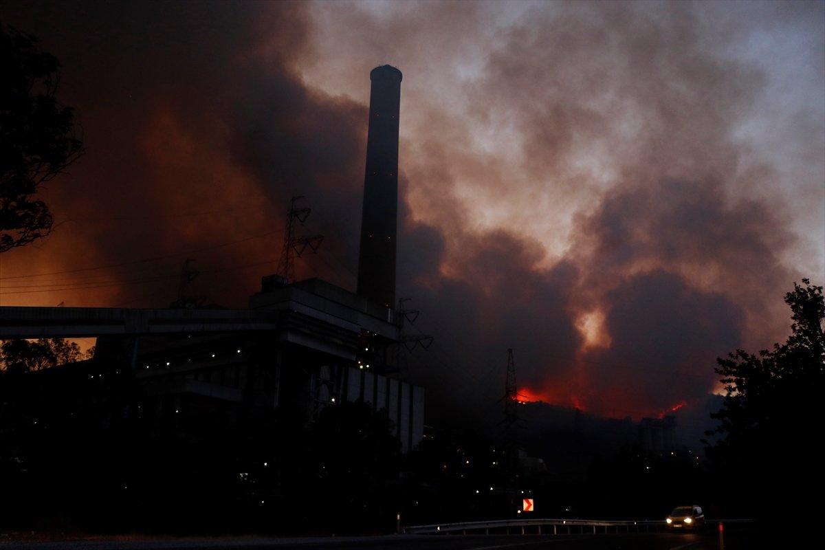 Milas taki termik santrale sıçrayan yangın söndü #3