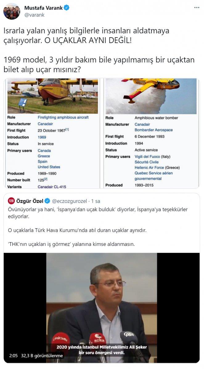 CHP li Özgür Özel in yangın söndürme uçağı iddiasına Mustafa Varank tan yanıt #2