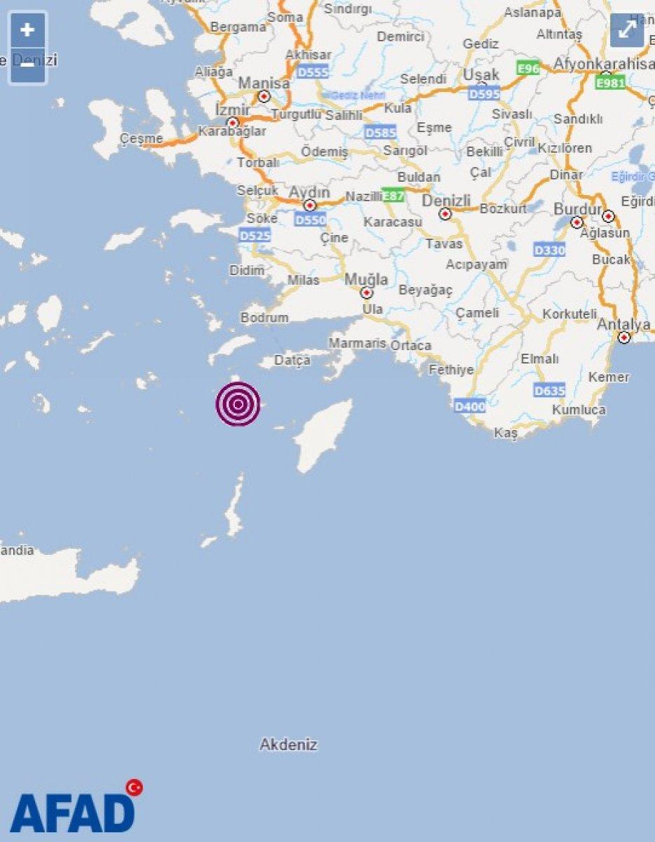 Muğla açıklarında 4.4 büyüklüğünde deprem #1