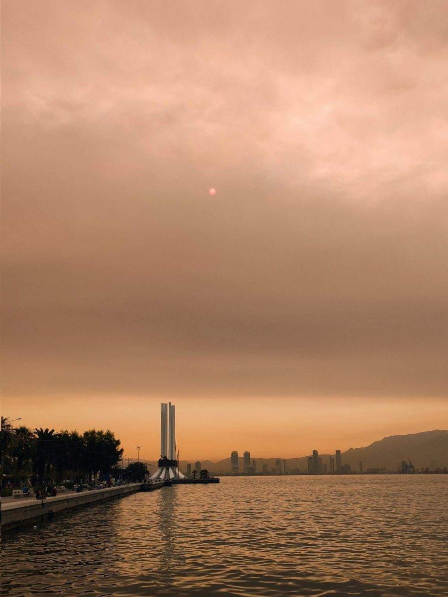 Bölgedeki yangınlar, İzmir den Çanakkale ye kadar gökyüzü rengini değiştirdi #8