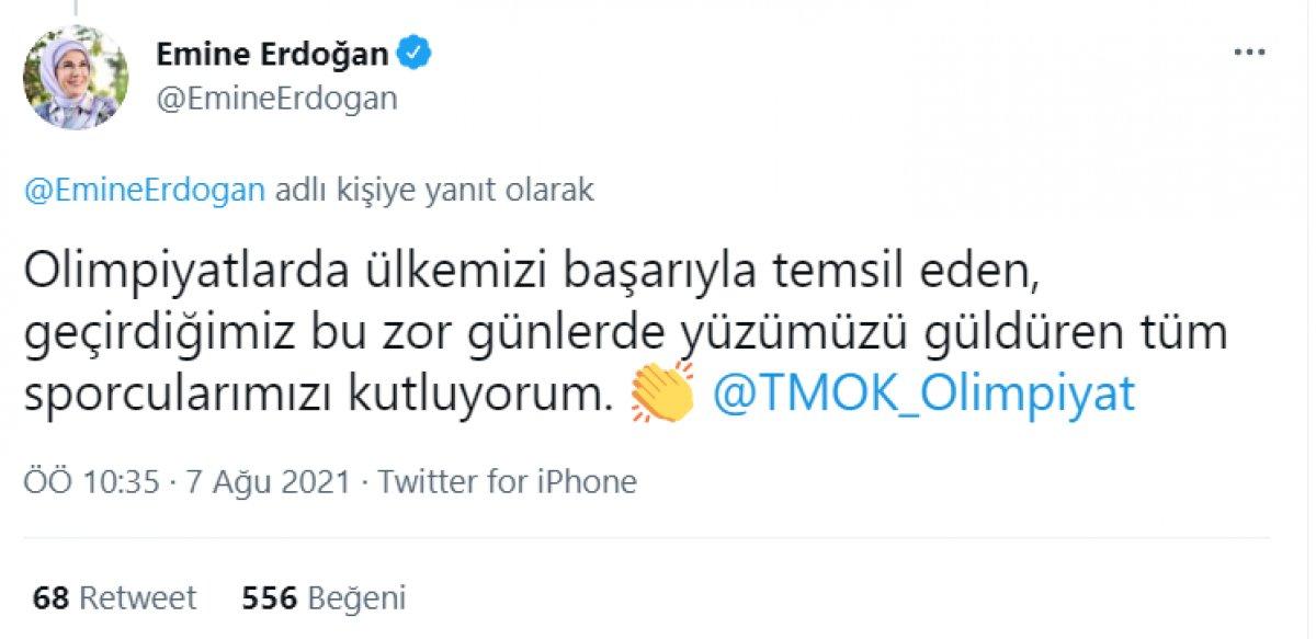 Emine Erdoğan madalya alan Buse Naz Çakıroğlu ve Buse Naz Sürmeneli yi tebrik etti  #2