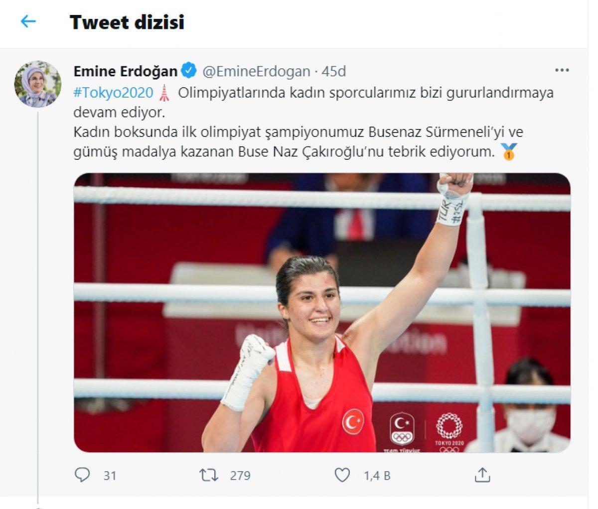 Emine Erdoğan madalya alan Buse Naz Çakıroğlu ve Buse Naz Sürmeneli yi tebrik etti  #1