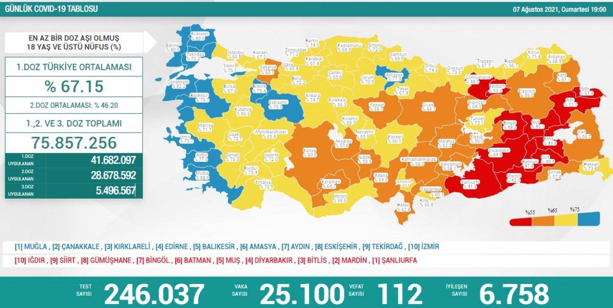 7 Ağustos Türkiye de koronavirüs tablosu #1