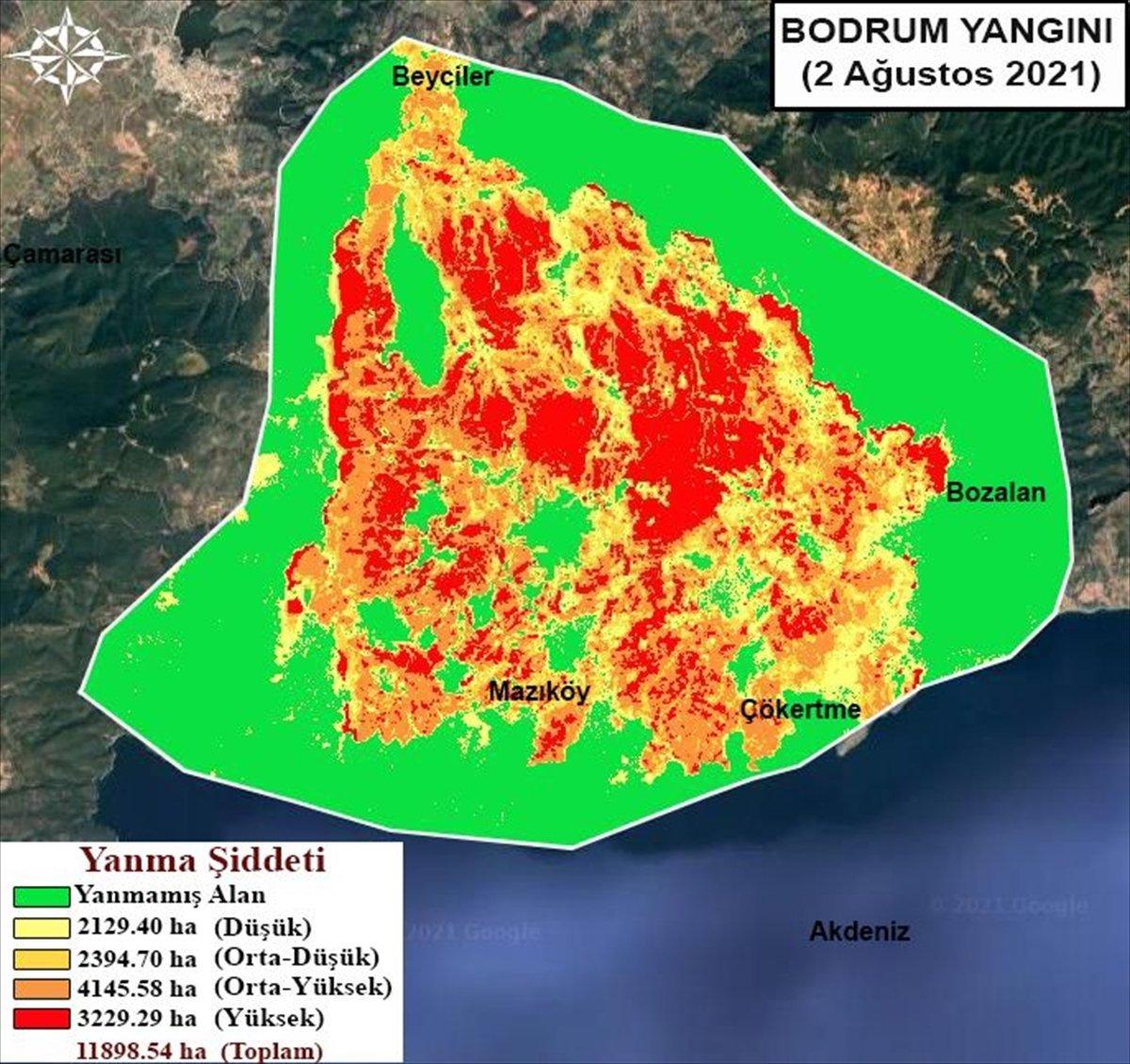 Orman yangınlarının etkili olduğu alanlar haritalandırıldı #4