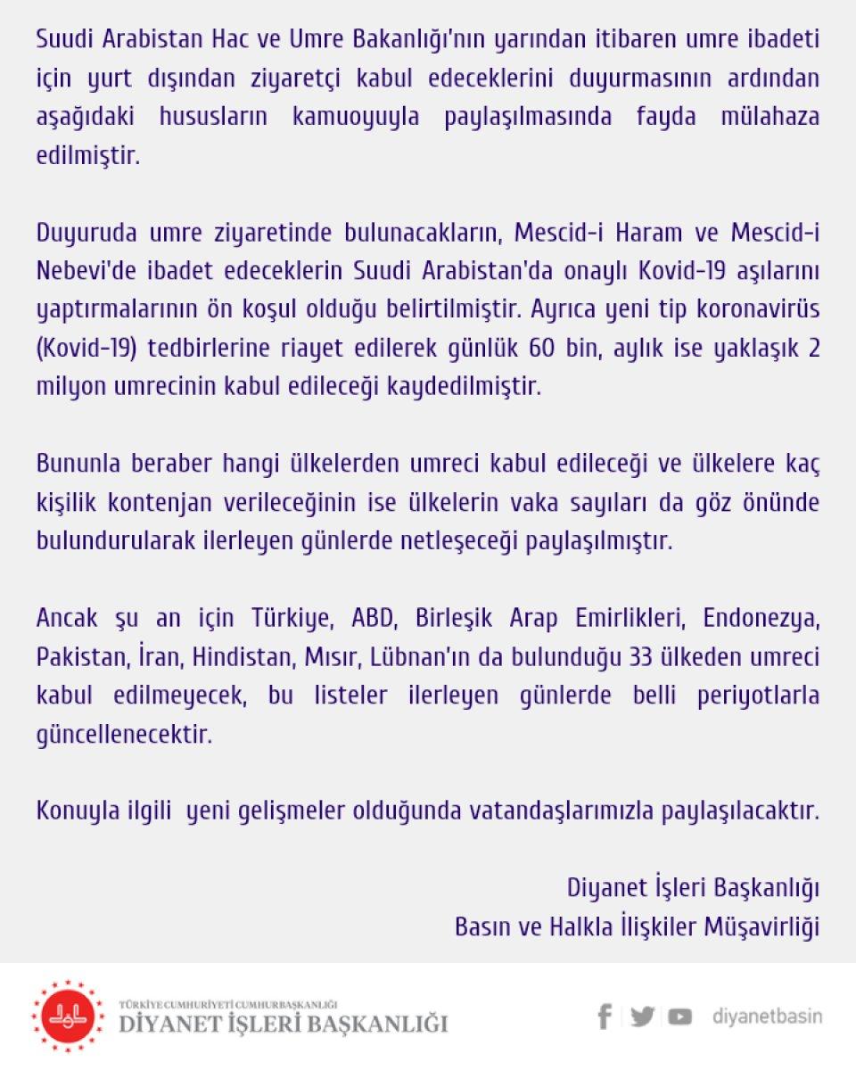Diyanet: Türkiye den umre için ziyaretçi kabul edilmeyecek #2
