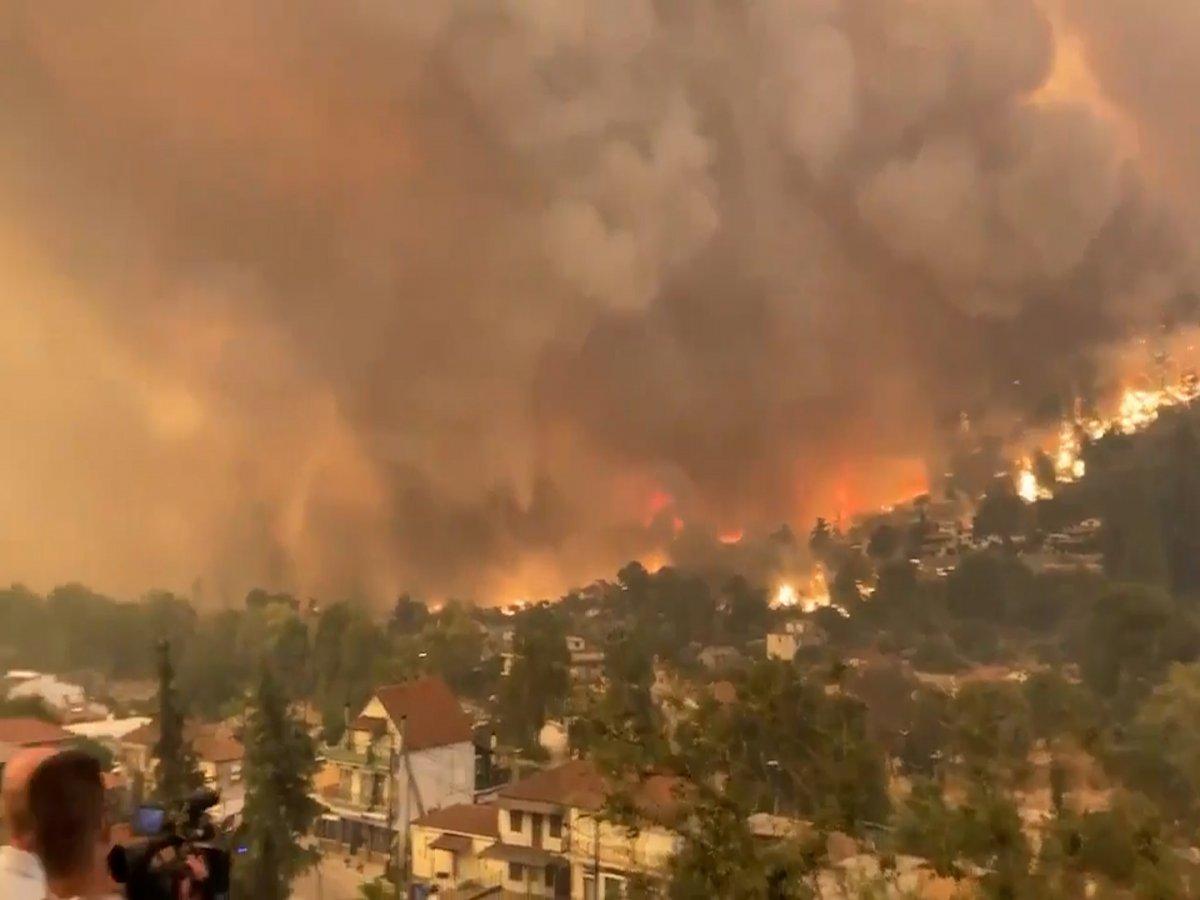 Yunanistan ın Eğriboz adasında yangının korkutucu görüntüleri #2