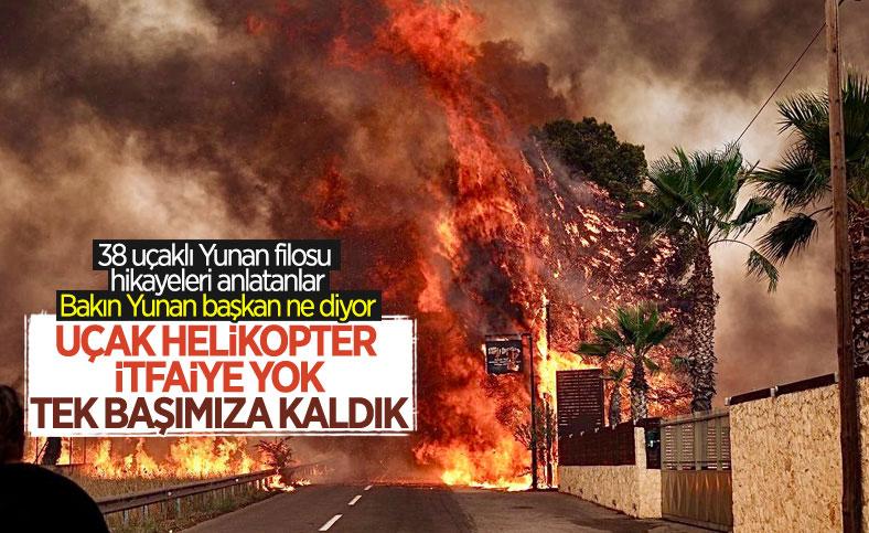 Yunanistan'ın Eğriboz adasında yangının korkutucu görüntüleri