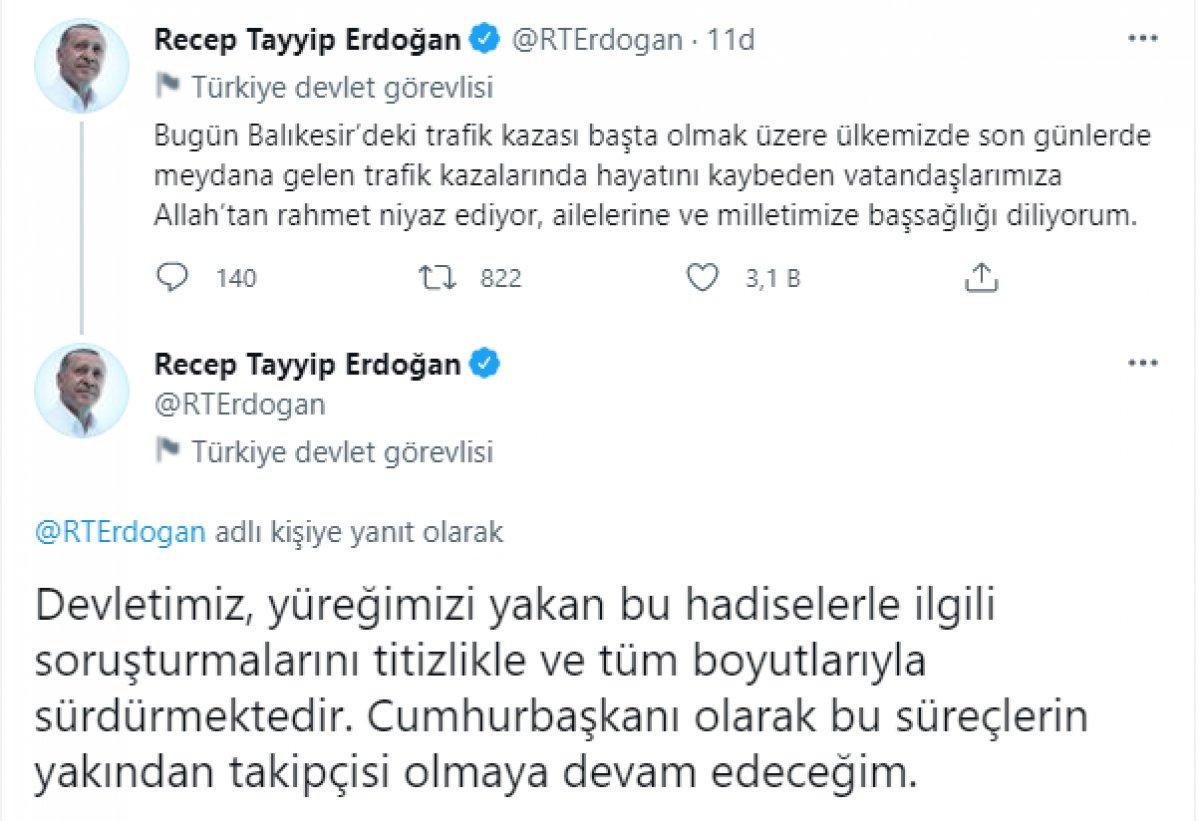 Cumhurbaşkanı Erdoğan dan kazada hayatını kaybedenler için taziye mesajı #1