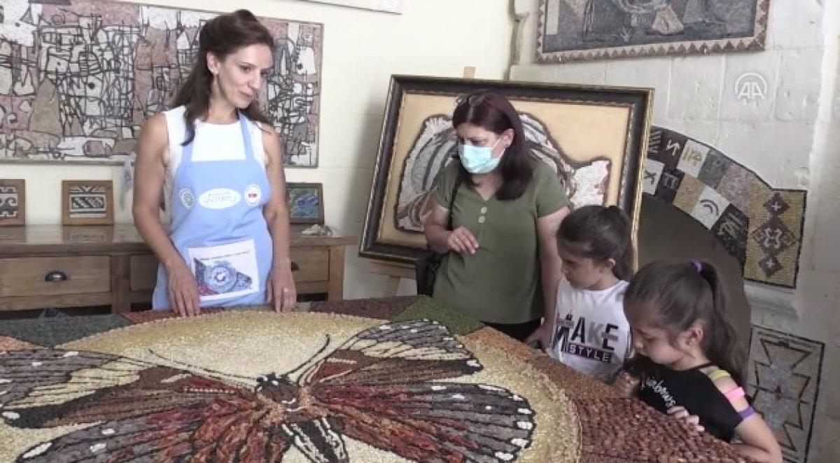 Mozaik sanatçısı, Gaziantep in yöresel lezzetlerini işledi #2