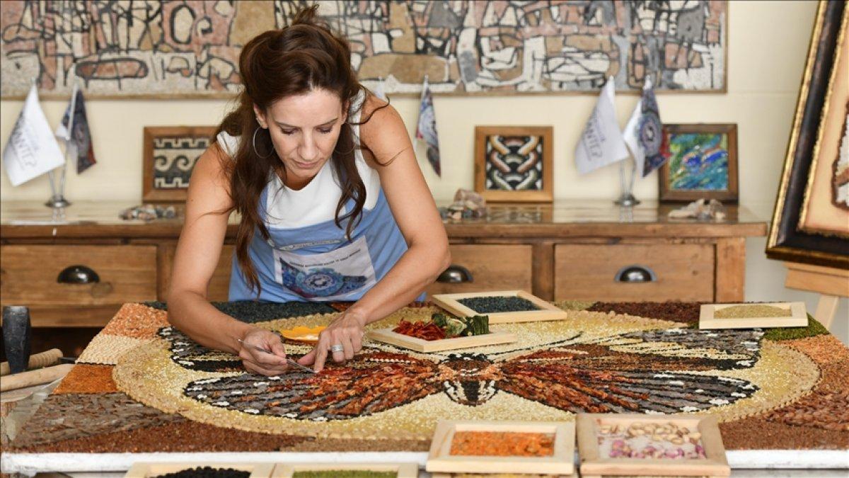 Mozaik sanatçısı, Gaziantep in yöresel lezzetlerini işledi #3