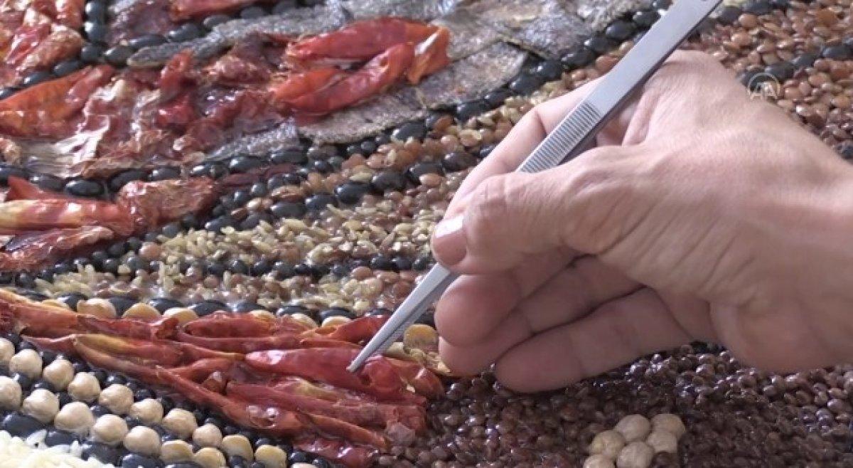 Mozaik sanatçısı, Gaziantep in yöresel lezzetlerini işledi #1