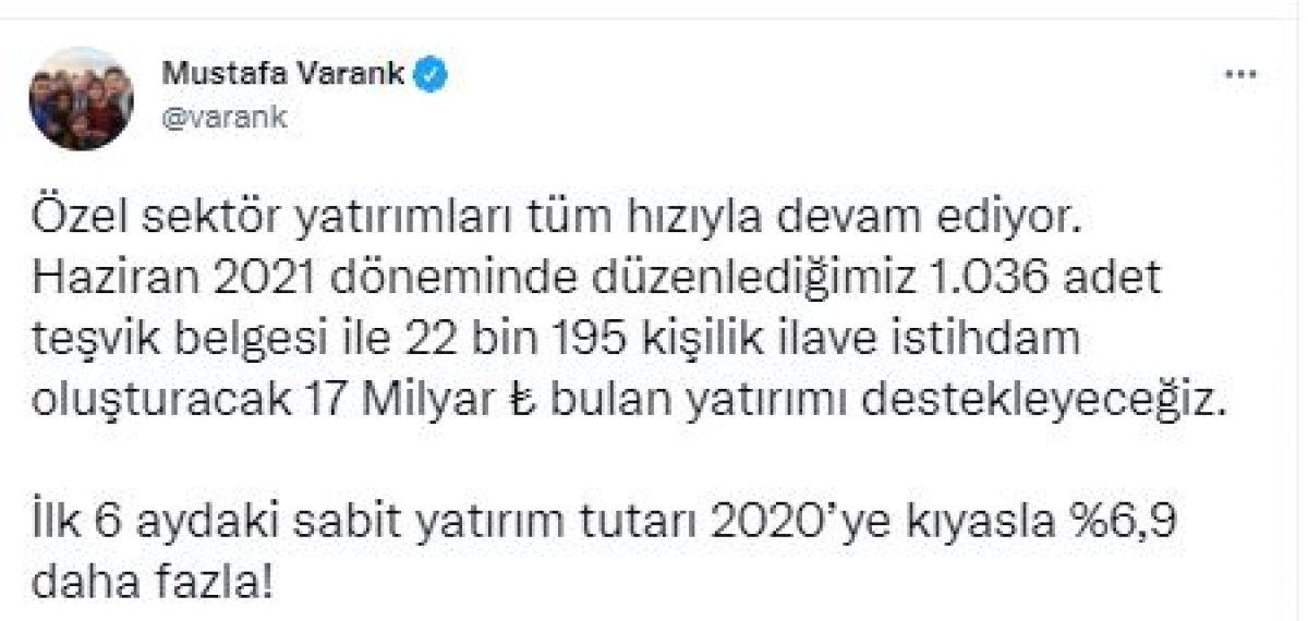 Bakan Mustafa Varank tan özel sektör yatırımlarına destek açıklaması #2