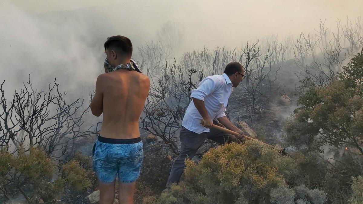 Datça da makilik ve zeytinlik alanda yangın çıktı #6