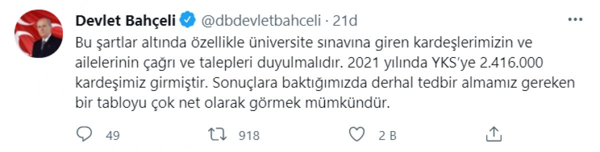 Devlet Bahçeli: Üniversite sınavları kaldırılsın, baraj düşürülsün #7