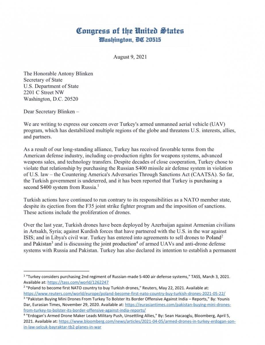 ABD li vekillerden, Blinken e İHA ve SİHA mektubu #1