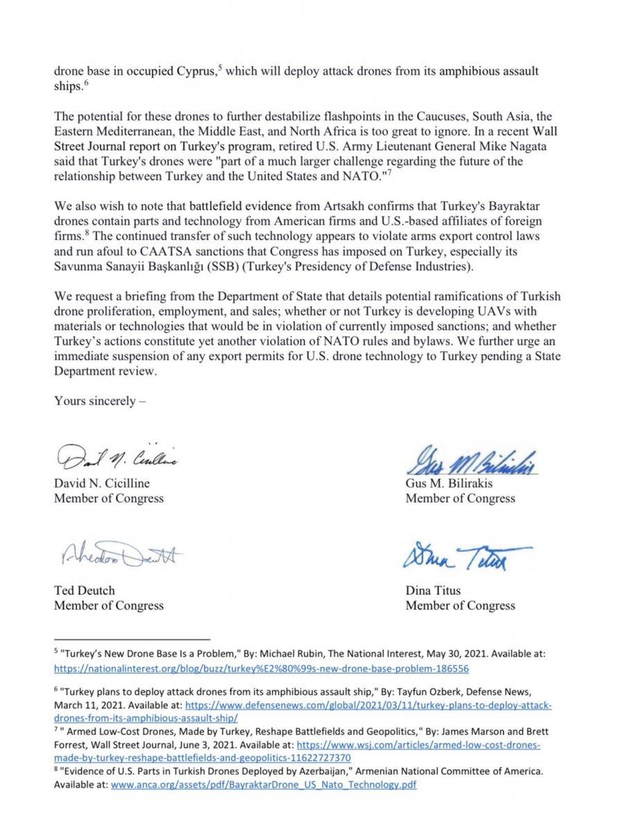 ABD li vekillerden, Blinken e İHA ve SİHA mektubu #2