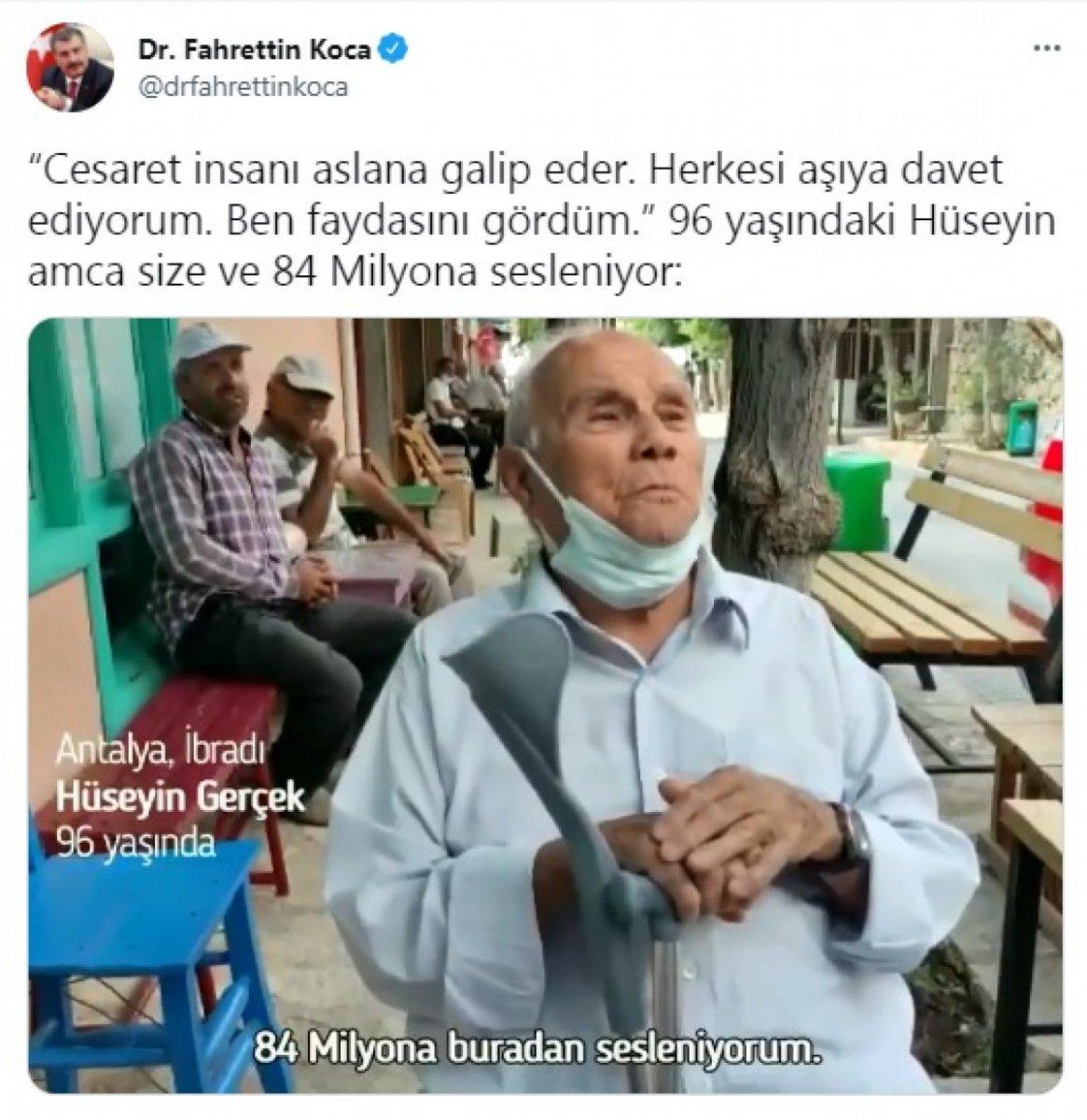 Antalya'da yaşayan 96 yaşındaki Hüseyin Amca'dan aşı çağrısı  #1