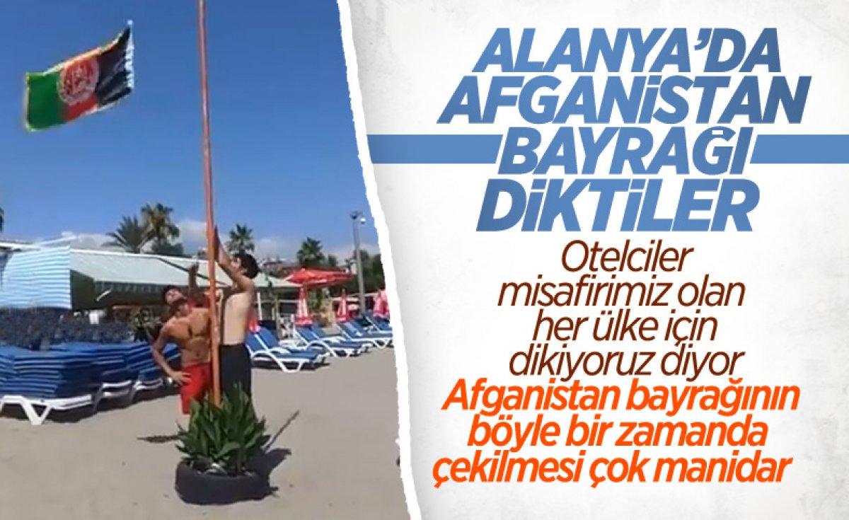 Alanya daki Afgan bayrağını indirdiler #4
