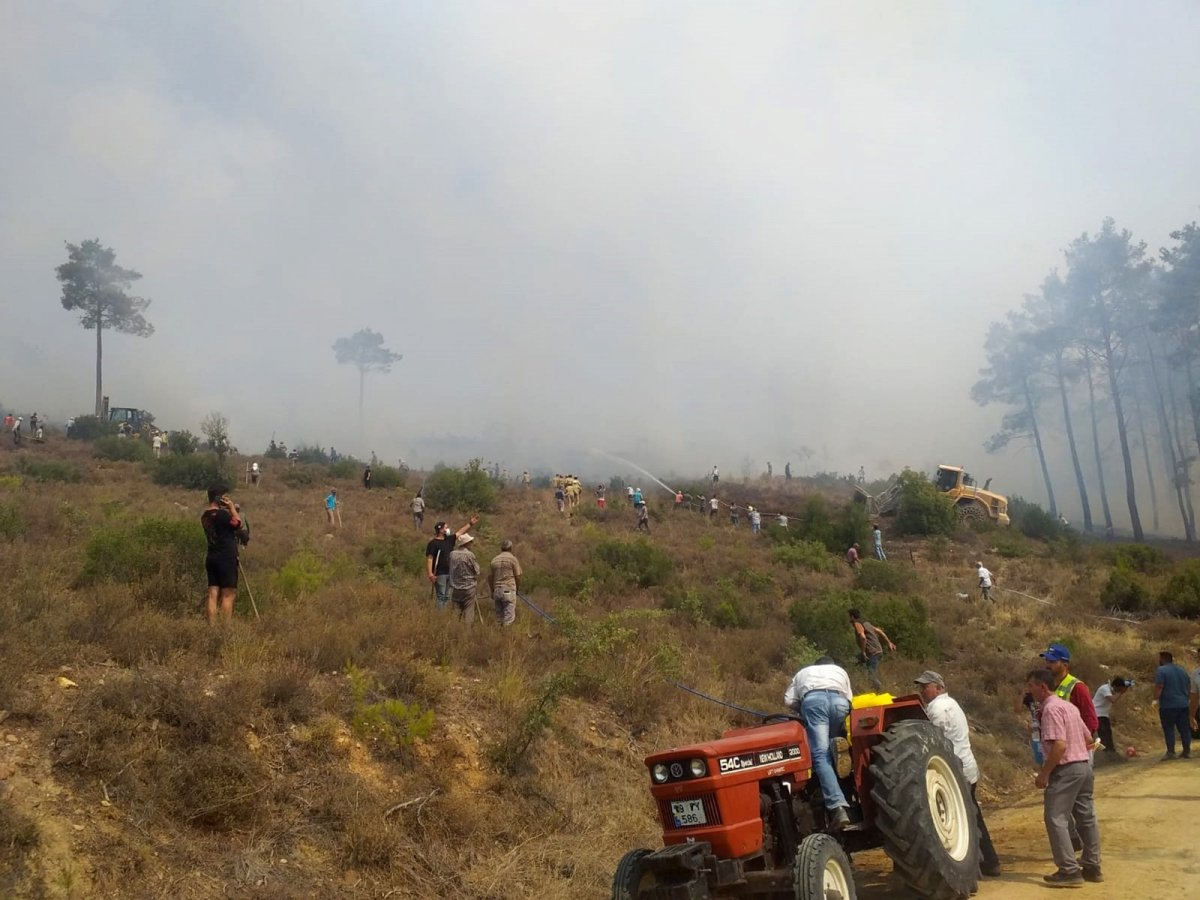 Muğla da yangın söndürmeye ilk koşan çiftçiler oldu #1