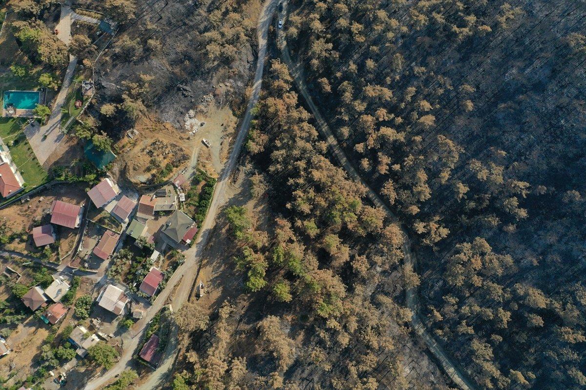 Marmaris Kızkumu Plajı çevresinde yanan ormanlık alanlar havadan görüntülendi #9