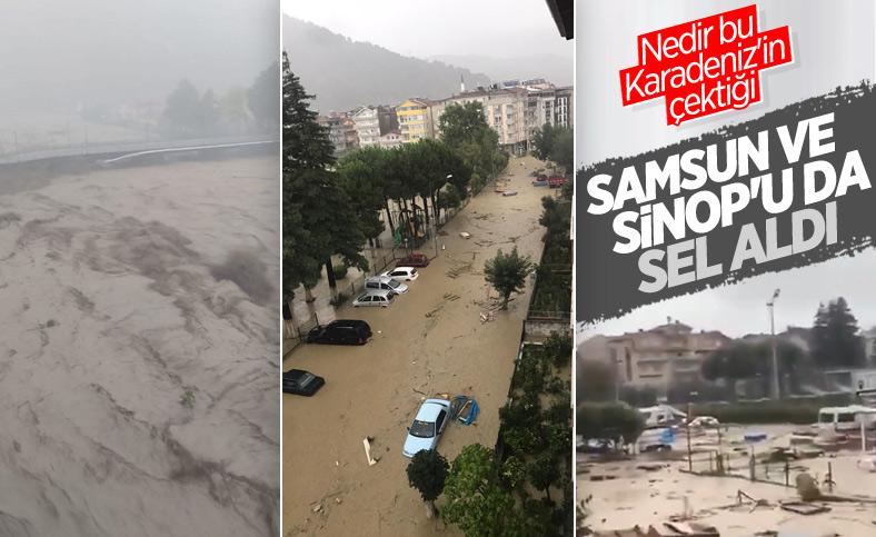 Sinop ve Samsun'da sağanak yağış, seli beraberinde getirdi